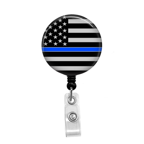 Blue Line Flag - Retractable Badge Holder - Badge Reel - Lanyards - Stethoscope Tag