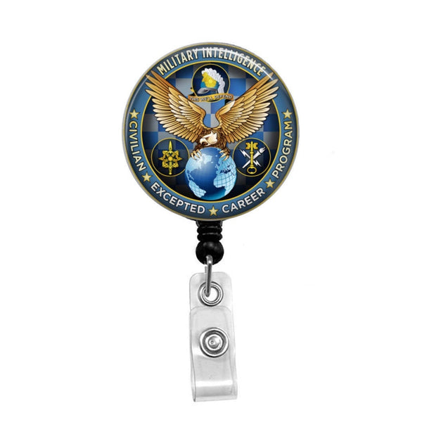 Military Intelligence - Retractable Badge Holder - Badge Reel - Lanyards - Stethoscope Tag