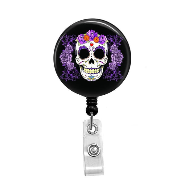Sugar Skull with Purple Flowers, Day of the Dead Celebration - Retractable Badge Holder - Badge Reel - Lanyards - Stethoscope Tag
