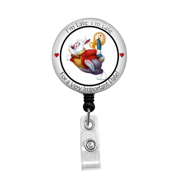 The White Rabbit from Alice in Wonderland - Retractable Badge Holder - Badge Reel - Lanyards - Stethoscope Tag