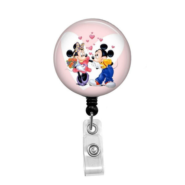 Mickey Mouse Loves Minnie Mouse - Retractable Badge Holder - Badge Reel - Lanyards - Stethoscope Tag