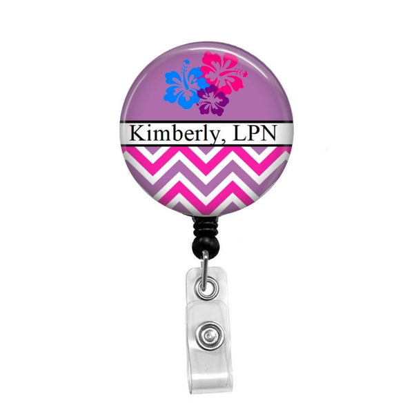 Flowers & Stripes Personalized Badge, Add your Name and Credentials -Retractable Badge Holder - Badge Reel - Lanyards - Stethoscope Tag