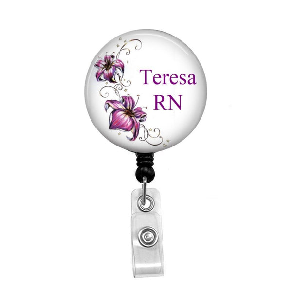 Orchids Personalized Badge, Add your Name and Credentials -Retractable Badge Holder - Badge Reel - Lanyards - Stethoscope Tag