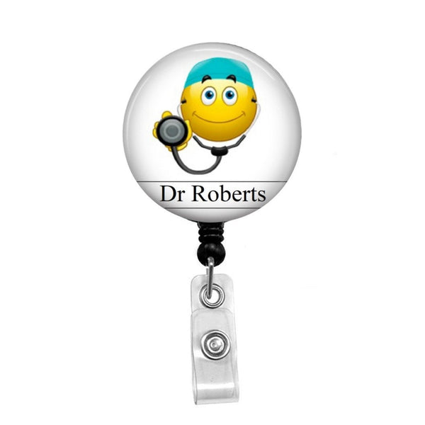 Doctor Smiley Face - Retractable Badge Holder - Badge Reel - Lanyards - Stethoscope Tag