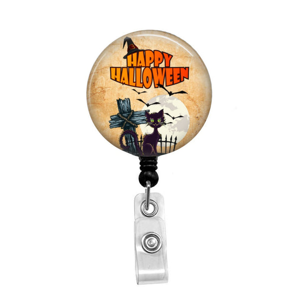 Happy Halloween Cat - Retractable Badge Holder - Badge Reel - Lanyards - Stethoscope Tag