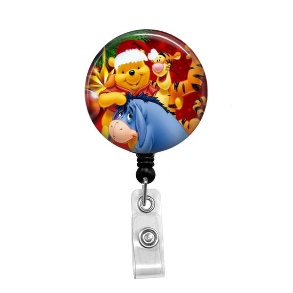 Winnie the Pooh Christmas - Retractable Badge Holder - Badge Reel - Lanyards - Stethoscope Tag