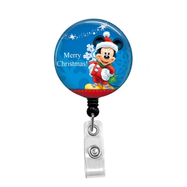Mickey Mouse Christmas - Retractable Badge Holder - Badge Reel - Lanyards - Stethoscope Tag