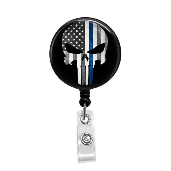 Blue Line Punisher Flag - Retractable Badge Holder - Badge Reel - Lanyards - Stethoscope Tag