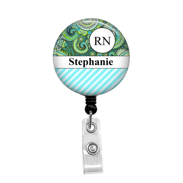 Blue Green Paisley Print Personalized Badge - Retractable Badge Holder - Badge Reel - Lanyards - Stethoscope Tag