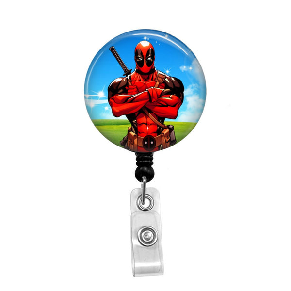 Deadpool Cartoon - Retractable Badge Holder - Badge Reel - Lanyards - Stethoscope Tag