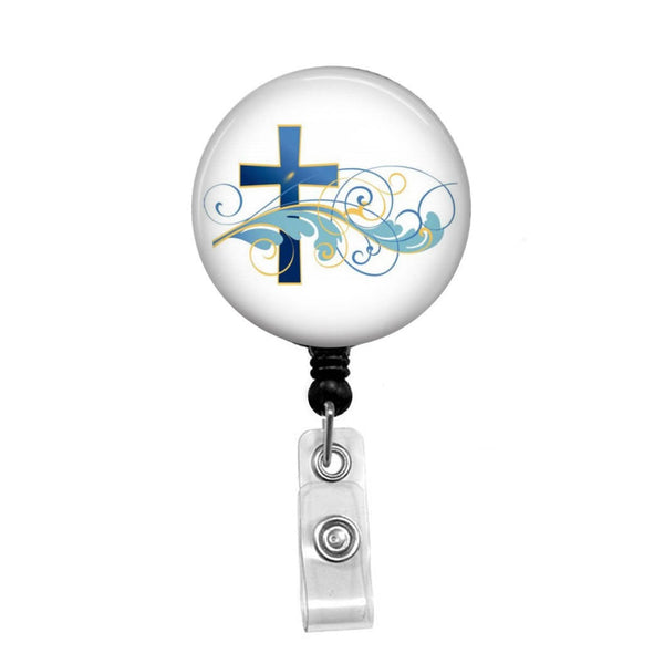 Blue Christian Cross - Retractable Badge Holder - Badge Reel - Lanyards - Stethoscope Tag