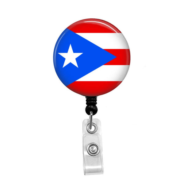 Puerto Rican Flag - Retractable Badge Holder - Badge Reel - Lanyards - Stethoscope Tag