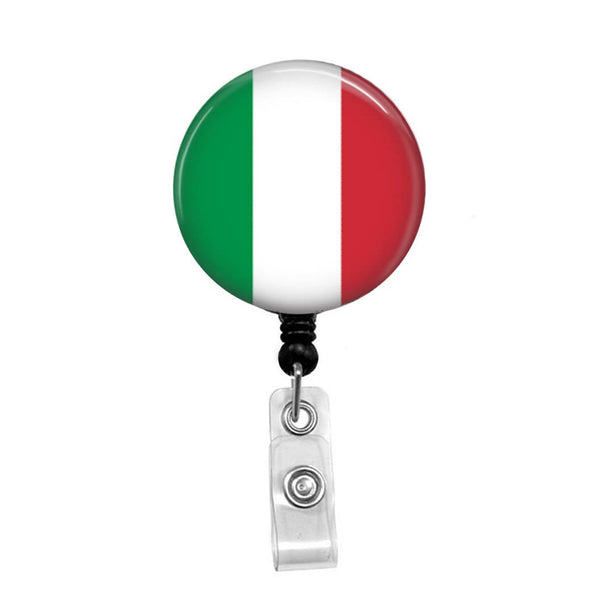 Italian Flag - Retractable Badge Holder - Badge Reel - Lanyards - Stethoscope Tag