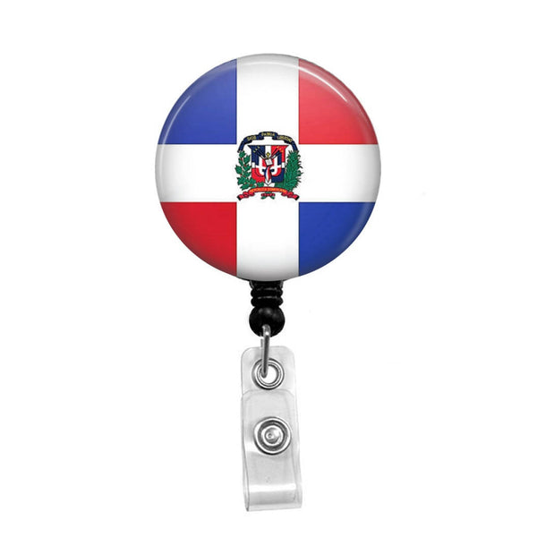 Flag of the Dominican Republic - Retractable Badge Holder - Badge Reel - Lanyards - Stethoscope Tag