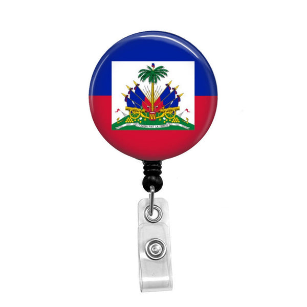 Haitian Flag - Retractable Badge Holder - Badge Reel - Lanyards - Stethoscope Tag
