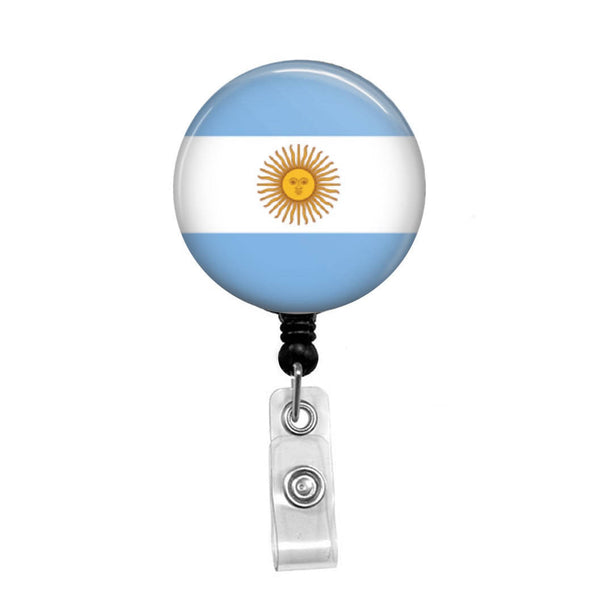 Flag of Argentina - Retractable Badge Holder - Badge Reel - Lanyards - Stethoscope Tag