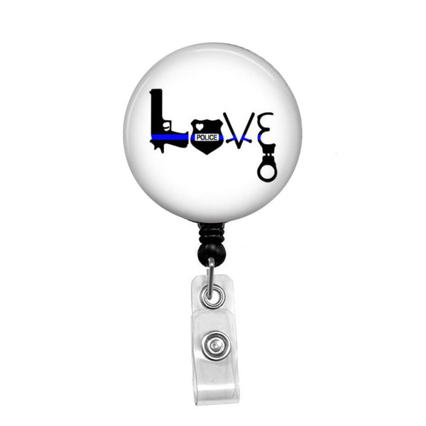 Love the Police, Police Support - Retractable Badge Holder - Badge Reel - Lanyards - Stethoscope Tag