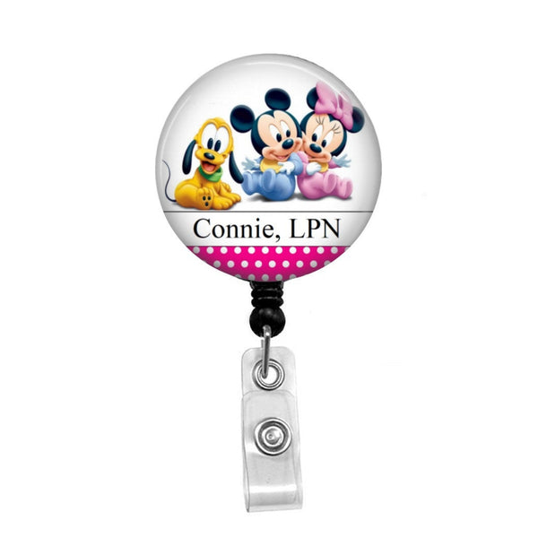 Disney Babies; Mickey, Minnie & Pluto - Retractable Badge Holder - Badge Reel - Lanyards - Stethoscope Tag