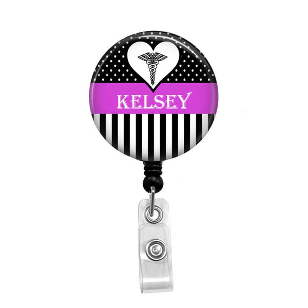 Dots & Stripes with Heart Personalized Badge - Retractable Badge Holder - Badge Reel - Lanyards - Stethoscope Tag
