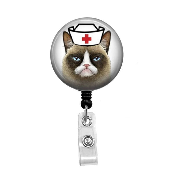 Grumpy Cat Nurse - Retractable Badge Holder - Badge Reel - Lanyards - Stethoscope Tag
