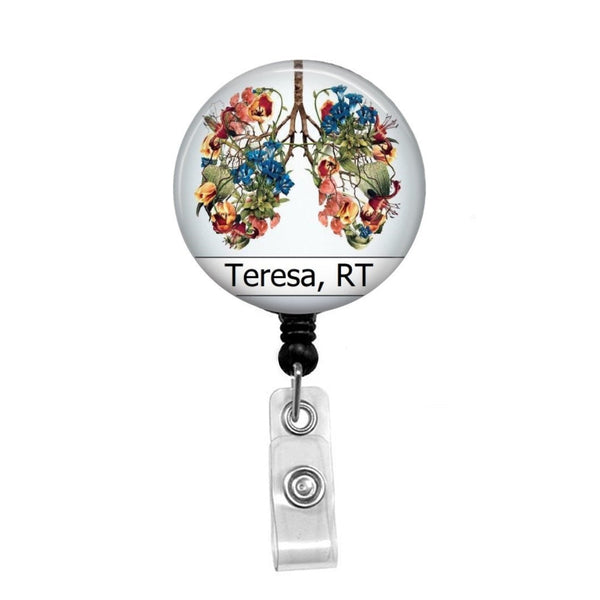 Floral Lungs, Respiratory, Personalized - Retractable Badge Holder - Badge Reel - Lanyards - Stethoscope Tag