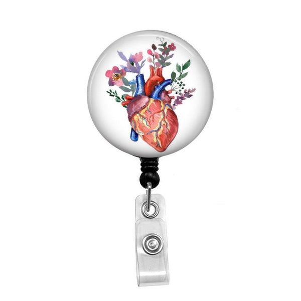Heart with Flowers Watercolor - Retractable Badge Holder - Badge Reel - Lanyards - Stethoscope Tag