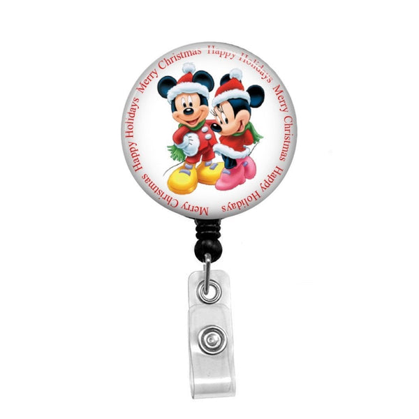 Mickey & Minnie Happy Holidays - Retractable Badge Holder - Badge Reel - Lanyards - Stethoscope Tag