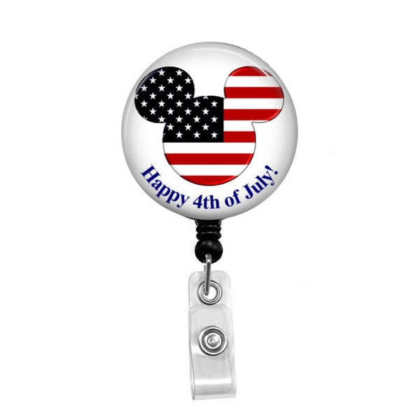 Happy 4th of July - Retractable Badge Holder - Badge Reel - Lanyards - Stethoscope Tag