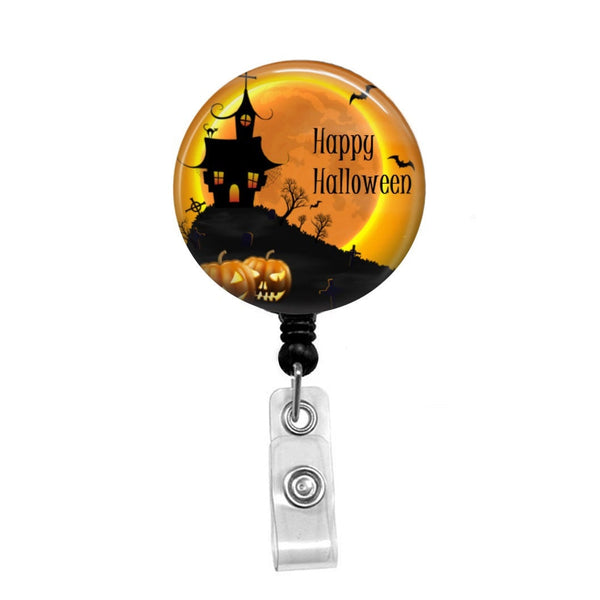 Halloween, Creepy Scene - Retractable Badge Holder - Badge Reel - Lanyards - Stethoscope Tag