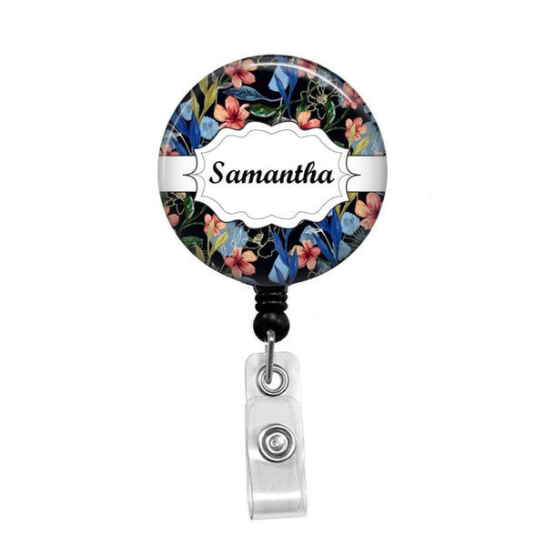 Blue Flower Paisley on Black, Personalized - Retractable Badge Holder - Badge Reel - Lanyards - Stethoscope Tag