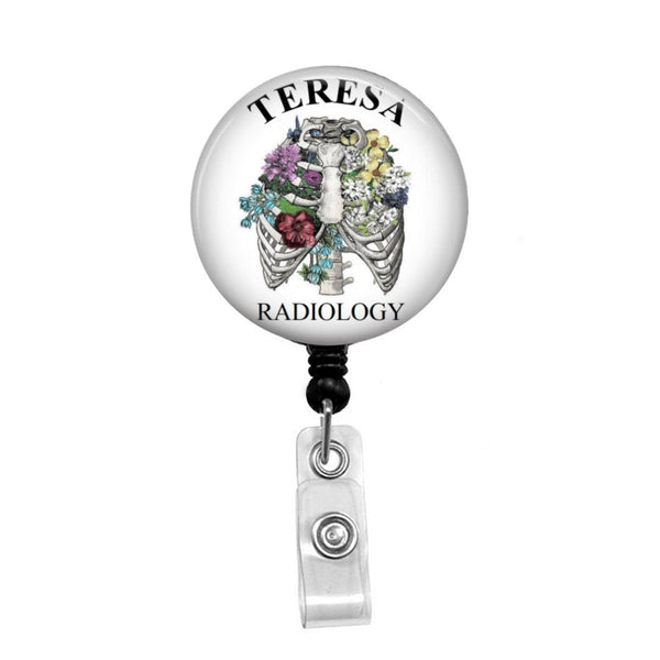 Radiology, Floral Lungs, Rib Cage - Retractable Badge Holder - Badge Reel - Lanyards - Stethoscope Tag