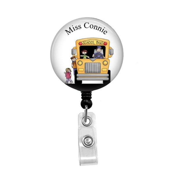 School Bus Driver, Personalized - Retractable Badge Holder - Badge Reel - Lanyards - Stethoscope Tag