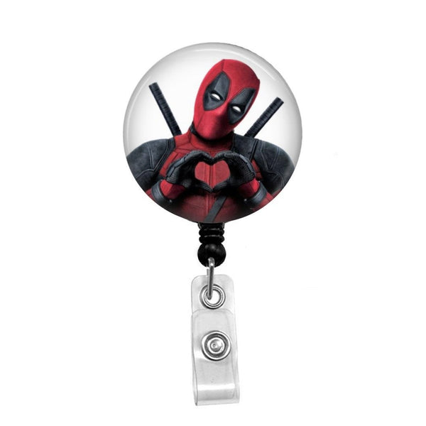 Deadpool Heart - Retractable Badge Holder - Badge Reel - Lanyards - Stethoscope Tag