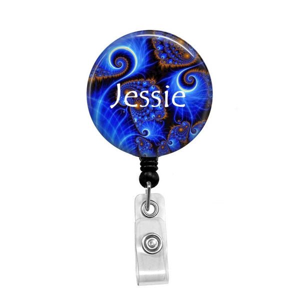 Blue Swirls, Personalized - Retractable Badge Holder - Badge Reel - Lanyards - Stethoscope Tag