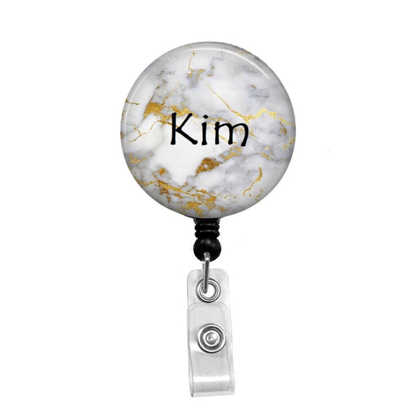 Gold Marble , Personalized - Retractable Badge Holder - Badge Reel - Lanyards - Stethoscope Tag