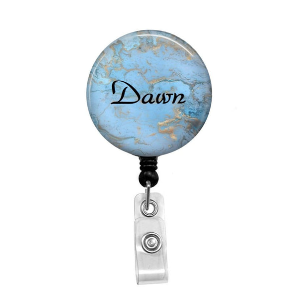 Blue & Gold Marble, Personalized - Retractable Badge Holder - Badge Reel - Lanyards - Stethoscope Tag