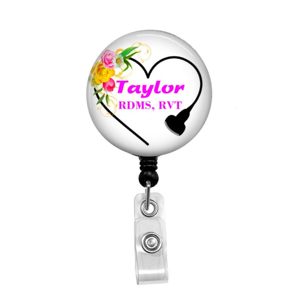 Floral Sonographer Heart, Ultrasound Tech, Personalized - Retractable Badge Holder - Badge Reel - Lanyards - Stethoscope Tag