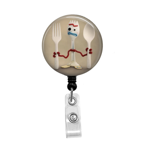 Forky from Toy Story - Retractable Badge Holder - Badge Reel - Lanyards - Stethoscope Tag