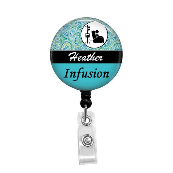 Infusion, Oncology Nurse - Retractable Badge Holder - Badge Reel - Lanyards - Stethoscope Tag