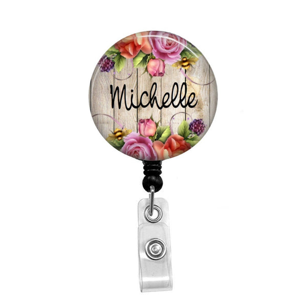 Flowers on Wood Background, Personalized - Retractable Badge Holder - Badge Reel - Lanyards - Stethoscope Tag