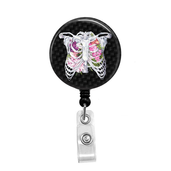 Respiratory, Floral Rib Cage - Retractable Badge Holder - Badge Reel - Lanyards - Stethoscope Tag