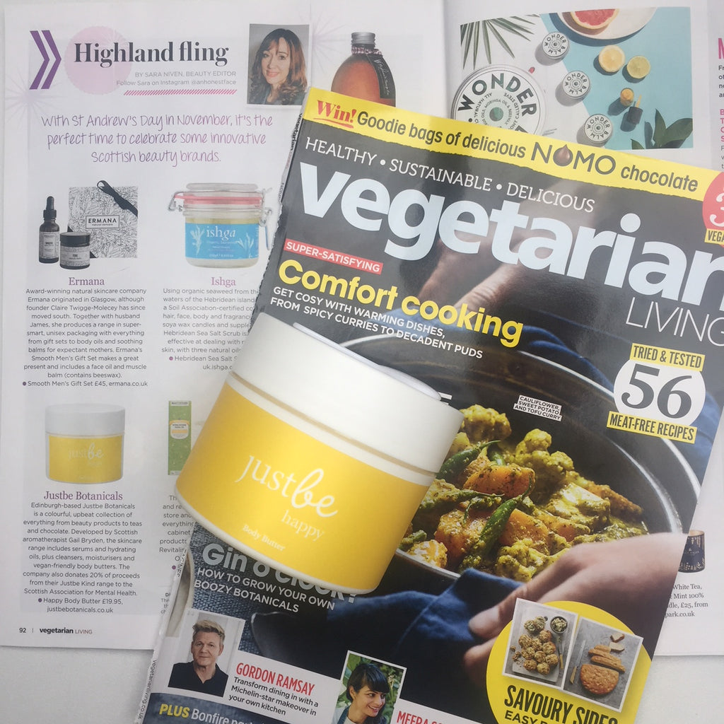 Vegetarian Living Magazine JustBe Happy Body Butter Scottish Skincare