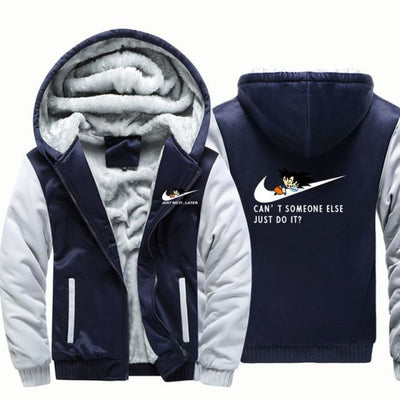 Cant Somone Else Just Do It Hooded Jacket - Dark Blue Grey / Xl