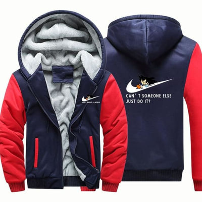Cant Somone Else Just Do It Hooded Jacket - Dark Blue Red / Xl