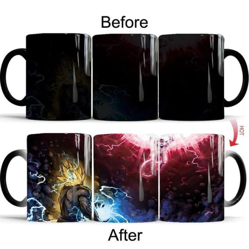 Dragon Ball Z Super Saiyan black red blue hair Goku Vegata Magic Mug
