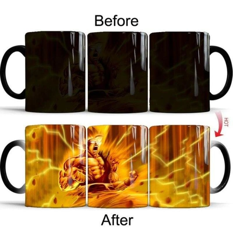 Dragon Ball Z Super Saiyan Red Blue Yellow Hair Goku Coffee Magic Mugs