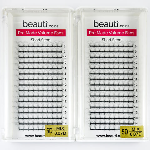 Beauti Lashes 5D Pre-Made Lashes NZ Short Stem - D Curl