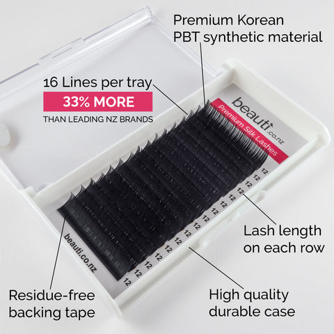 Individual Silk Eyelash Extension Trays NZ - B Curl