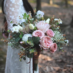 Mauve Boho Silk Wedding Bouquet