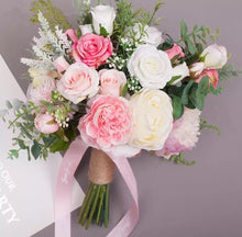 Load image into Gallery viewer, Spring Pink Rustic Wedding Bouquet
